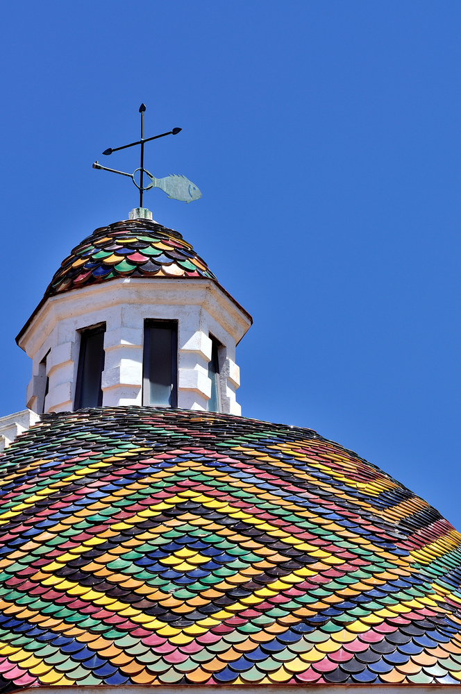 Dome of the church of San Michele symbol of the of Alghero Sardinia