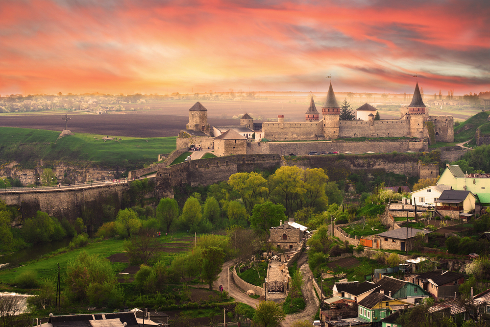 Dramatic view on the castle in Kamianets Podilskyi in spring