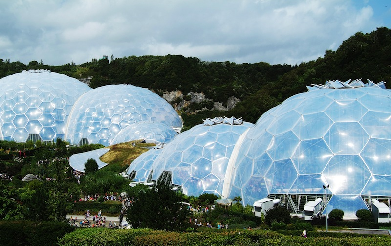 EDEN PROJECT CORNWALL AUG 15TH The biomes of the Eden Project in Cornwall UK on August 15th 2012