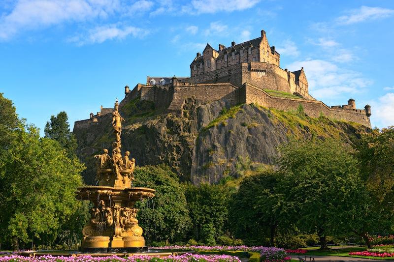 Edinburgh Castle Scotland from Princes Street Gardens with t