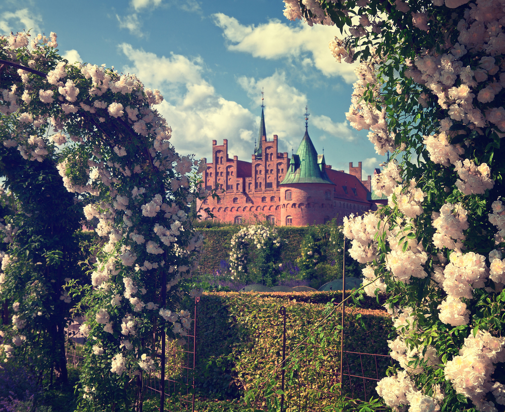 Egeskov castle the most visited castle in Denmark with magnificent park filter applied for vintage look