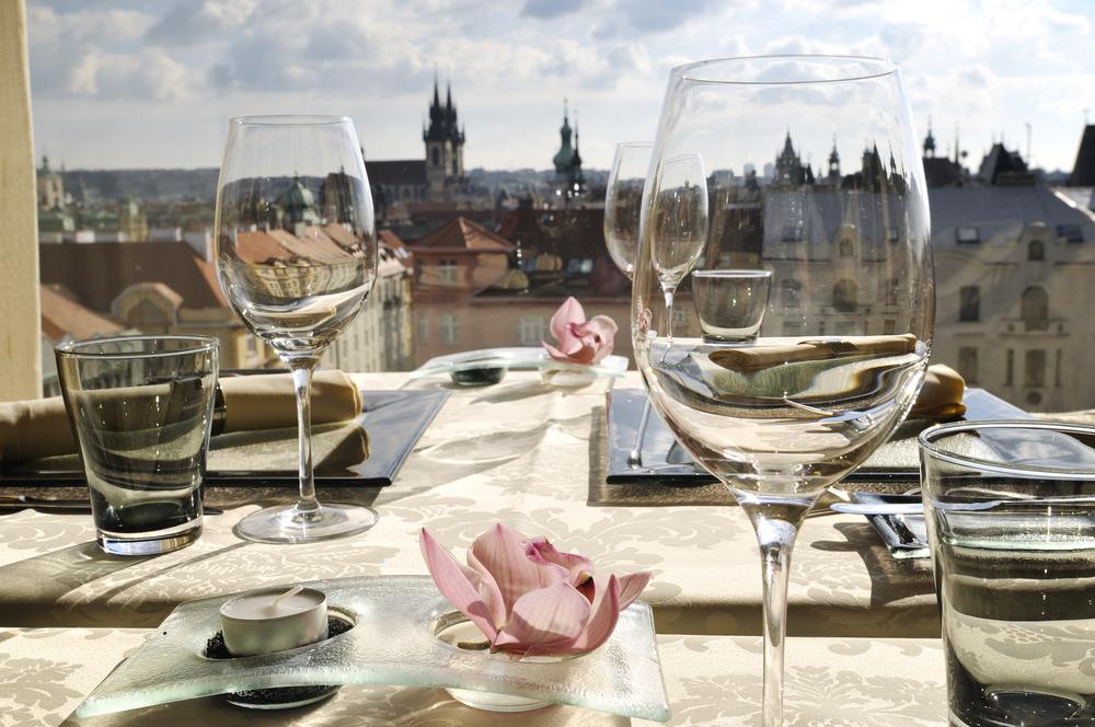 Empty glasses in restaurant Gold Prague