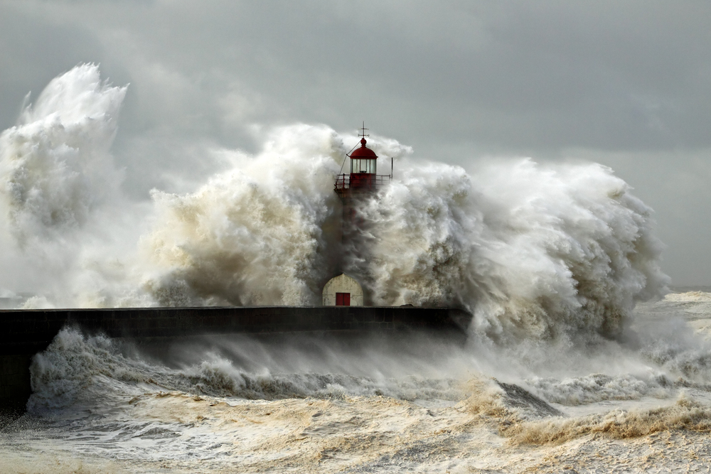 Entry of Douro River harbor on the first big storm of the year Wind gusts reach 140150 Km photo taken on Jan