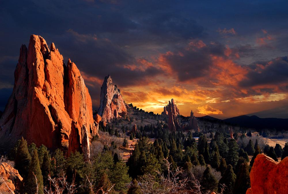 Evening Light at the Garden of the Gods Park in Colorado Springs Colorado