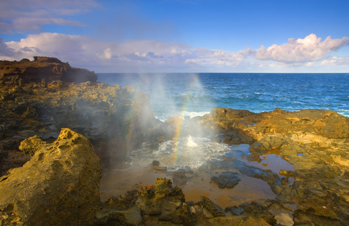 Famous Nakalele Blowhole on the coast of Maui Hawaii