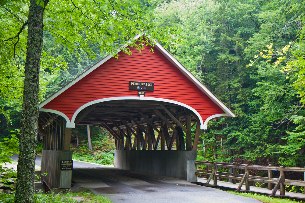 Flume gorge state park covered bridge in Franconia New Hampshire