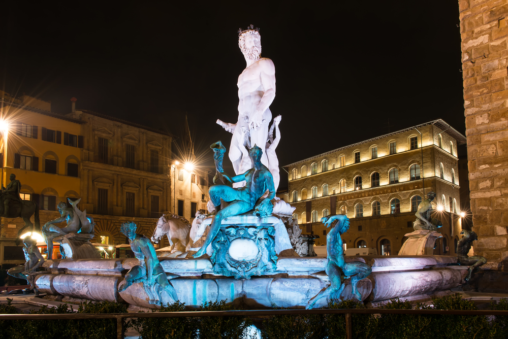 Fountain of Neptune in Piazza della Signoria in Florence at Night Italy