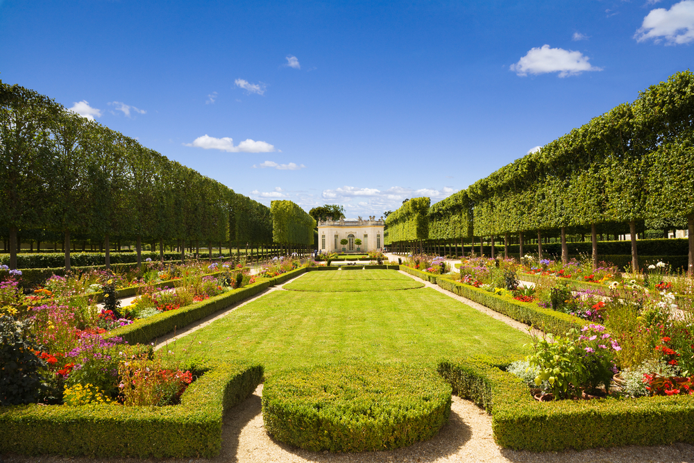 French pavilion and garden from le Petit Trianon in Versailles Chateau