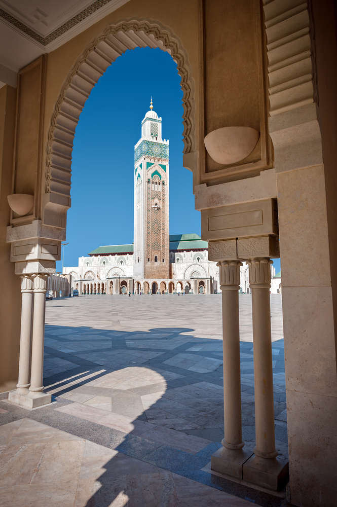 Front view of the Hassan II mosque and the highest minaret in the world