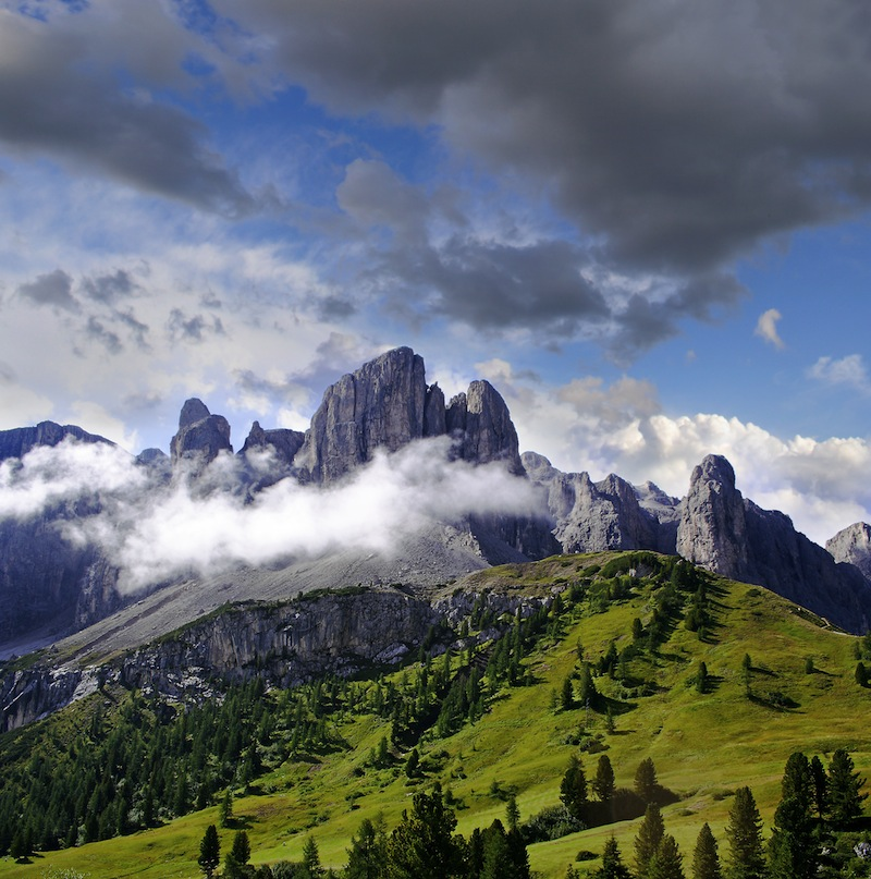 Gardena Pass the view of Sasso Lungo Langkofel Dolomiti