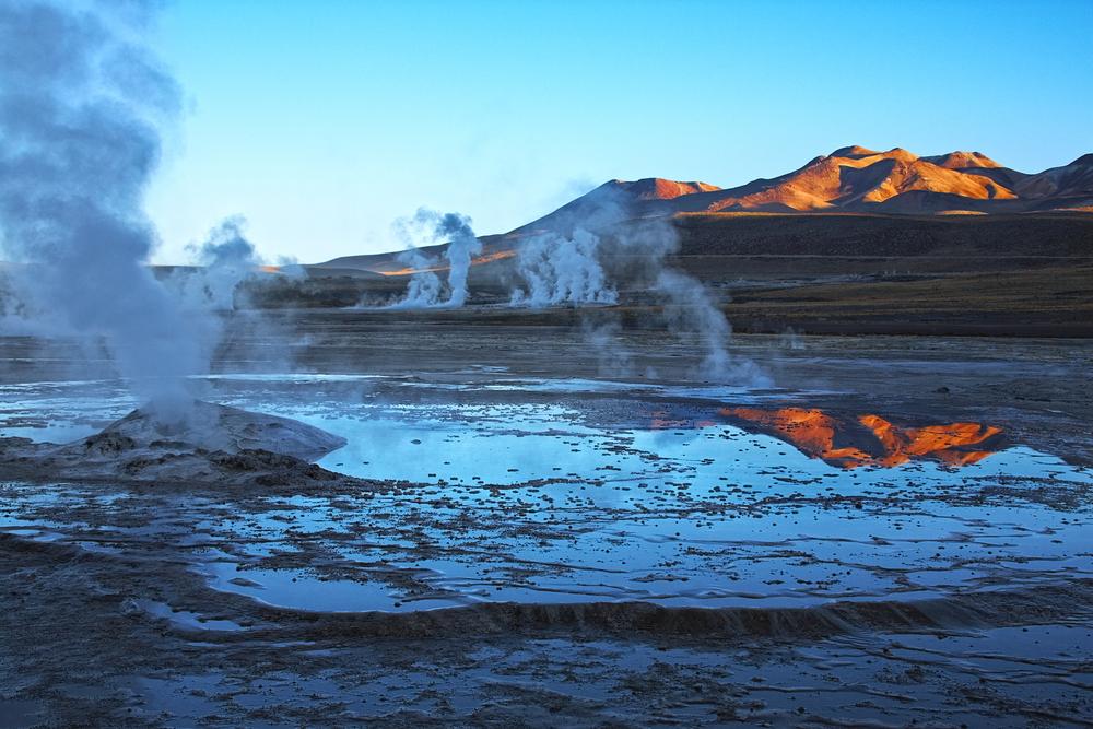 Geyser field El Tatio in Atacama region Chile