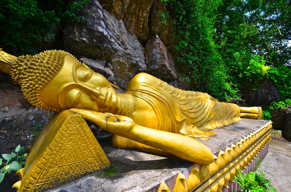 Gold Sleeping BuddhaPhou Si Hill Luang Prabang Laos Asia