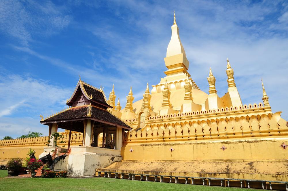 Golden pagada in Wat Pha That Luang Vientiane Laos