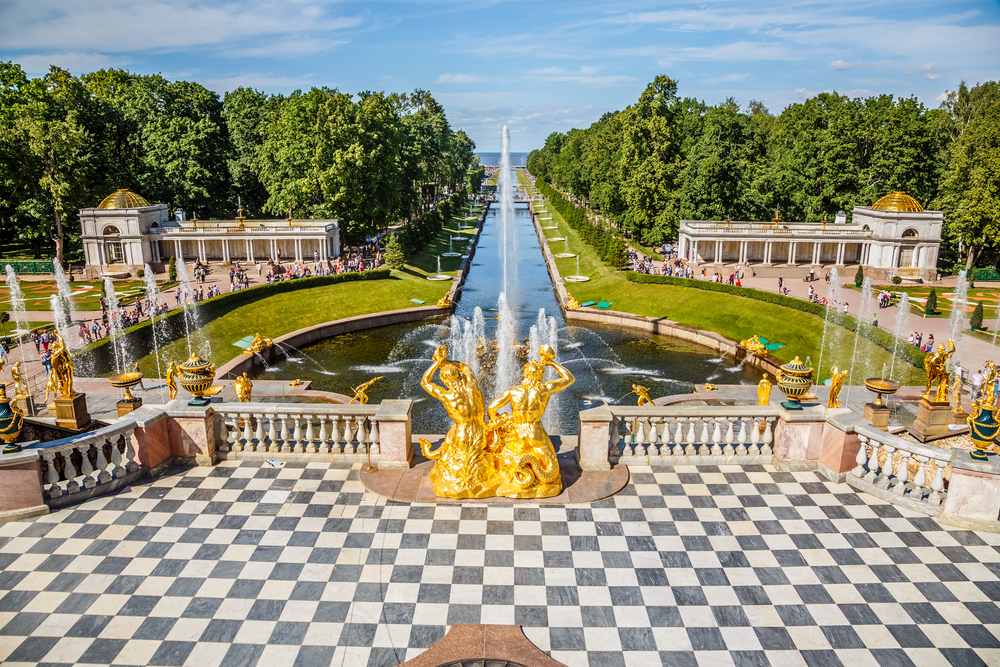Grand Cascade and sea canal in Peterhof St Petersburg Russia