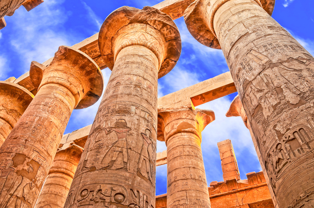 Great Hypostyle Hall and clouds at the Temples of Karnak ancient Thebes