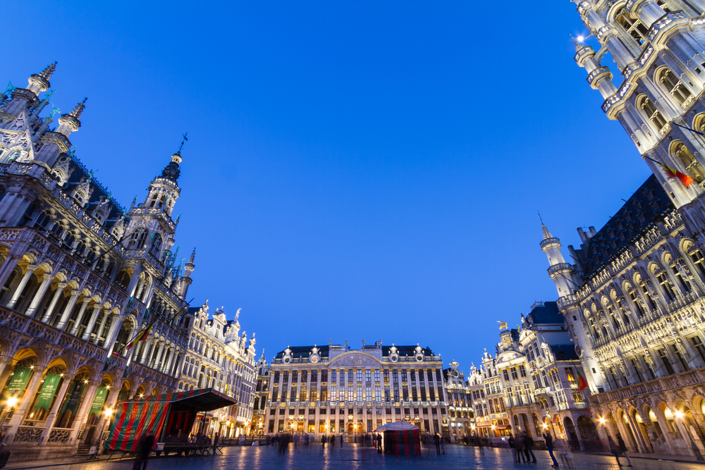 Grote Markt The main square and Town hall of Brussels Belgium Europe
