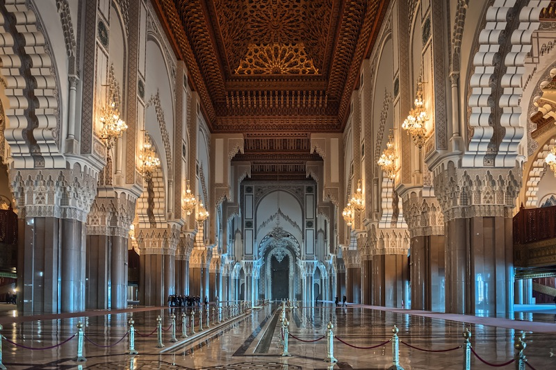 Hassan II Mosque interior corridor with columns in Casablanca