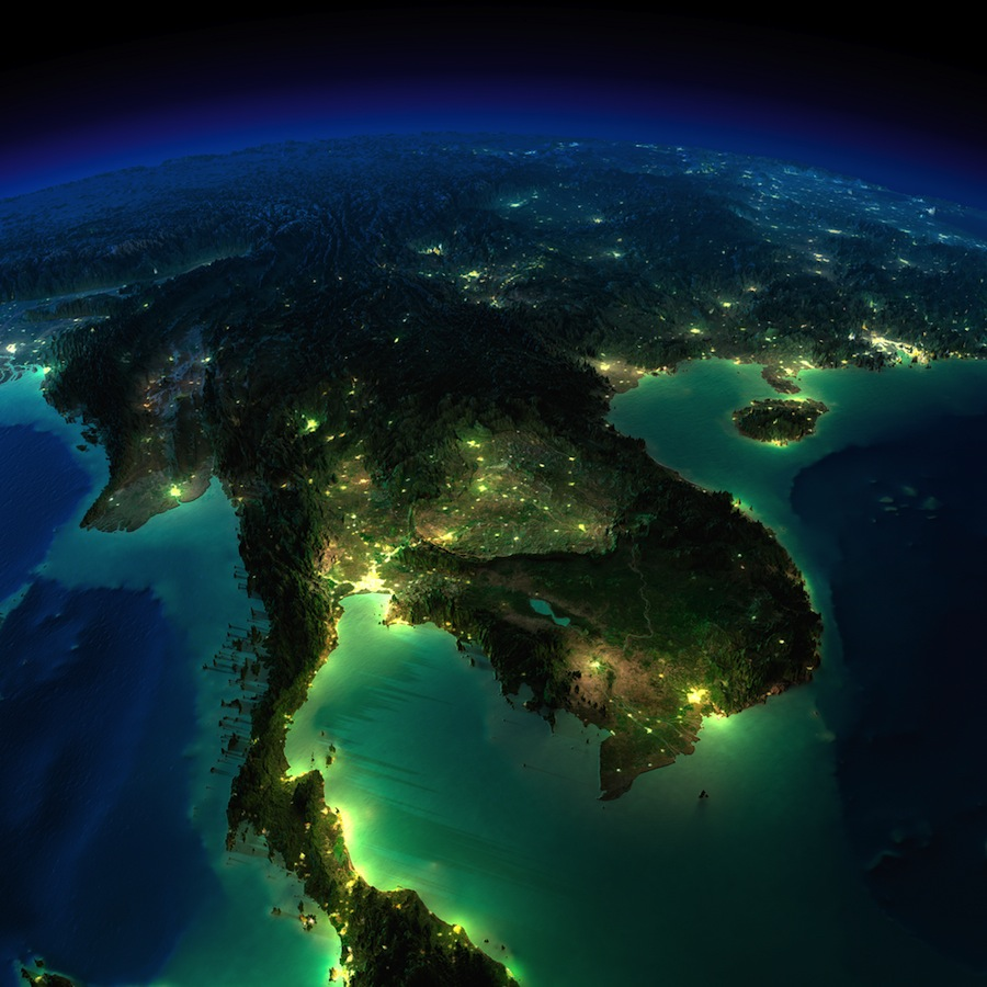 Highly detailed Earth illuminated by moonlight