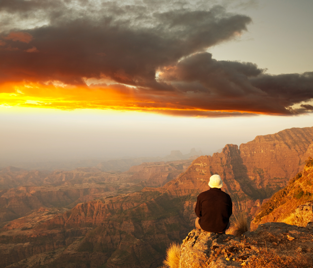 Hiker in Simien mountainsEthiopia