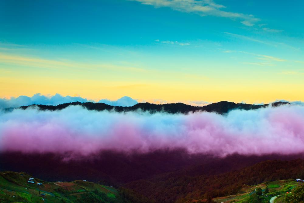 Hills and sunrise at Borneo Sabah Malaysia