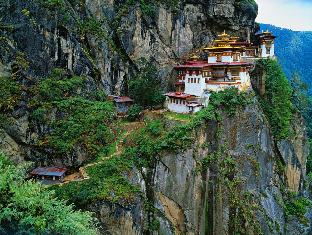 Himalaya90 Tibet Bhutan Paro Taktsan Taktsang Palphug Monastery also known as The Tigers Nest