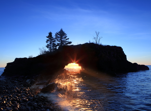 Hollow Rock at sunrise on the Lake Superior north shore in Minnesota
