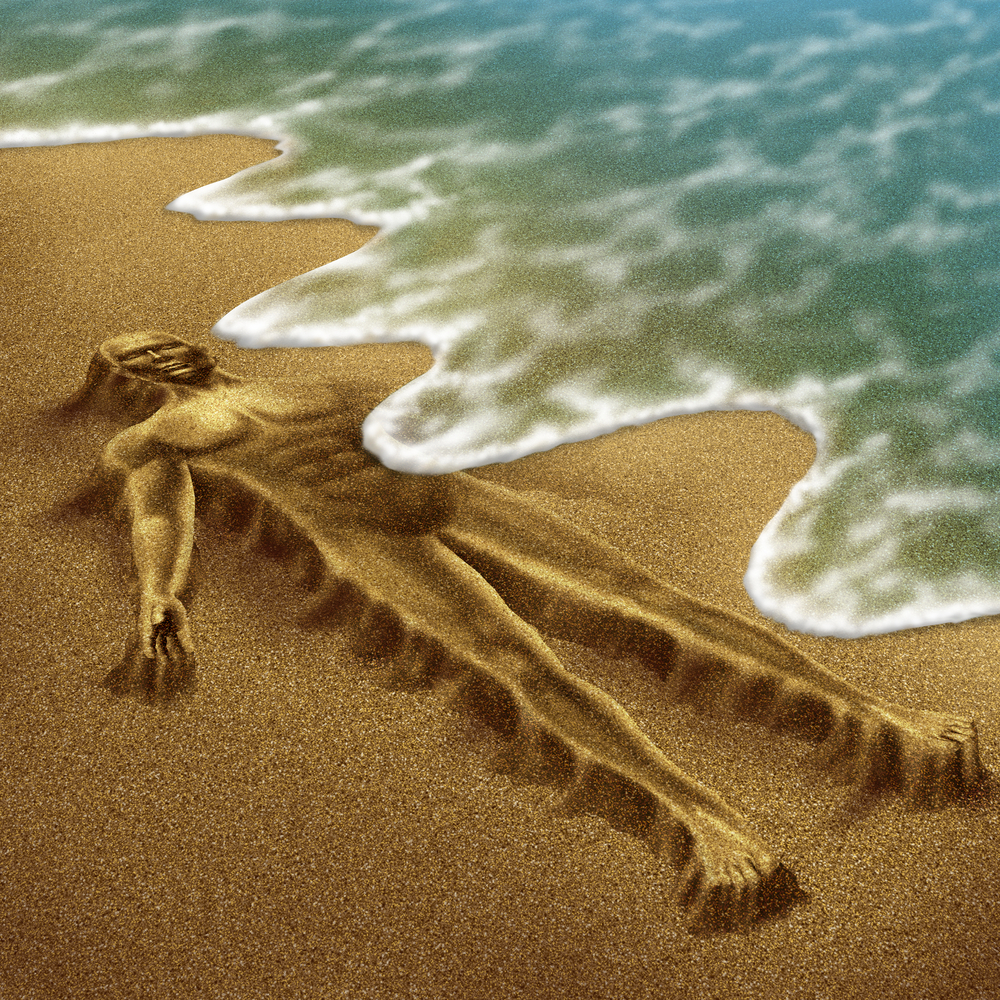 Human aging and disease as a body sculpted from sand on the beach with the ocean washing it away with the tide as a medical concept of loss due to age and illness as demen