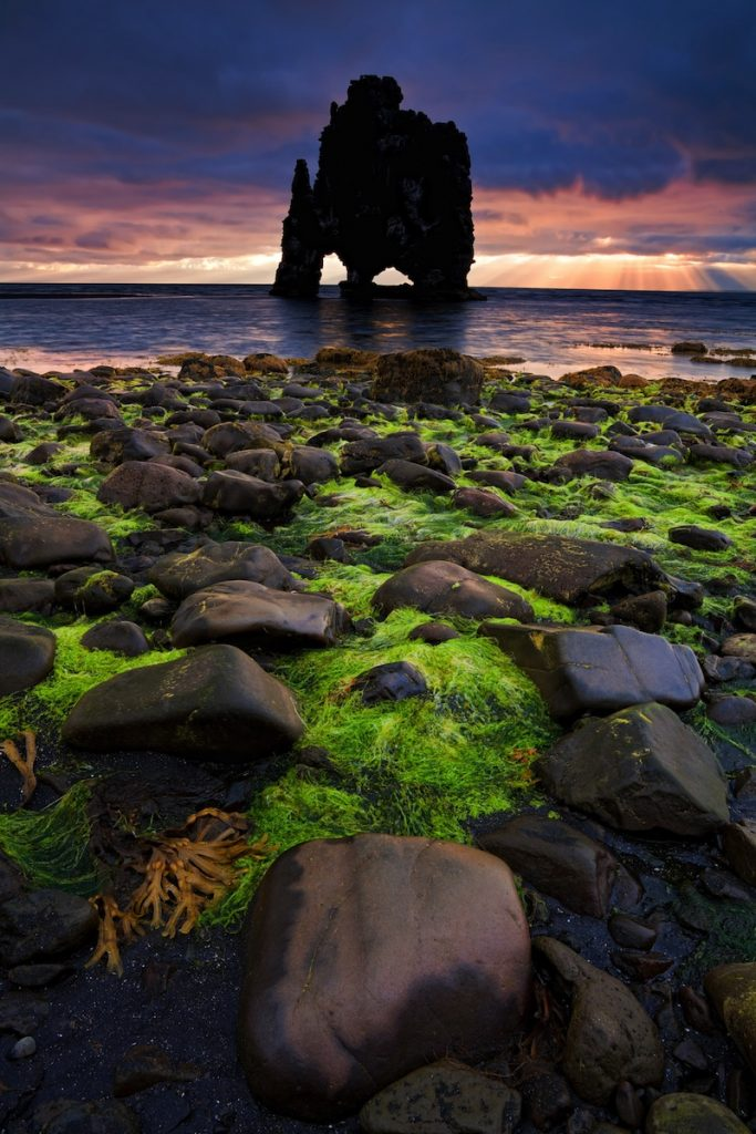 Hvitserkur an animal shaped petrified lava rock formation in the north of Iceland Island