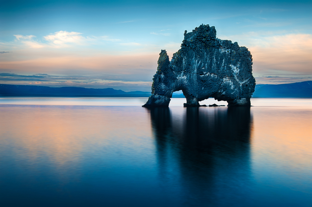 Hvitserkur is a spectacular rock in the sea on the Northern coast of Iceland