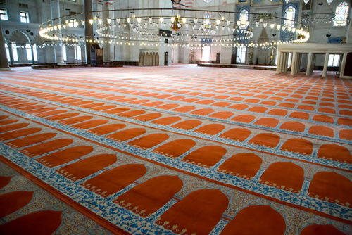 ISTANBUL TURKEY CIRCA SEPTEMBER 2013 Suleymaniye Mosque Prayer Floor