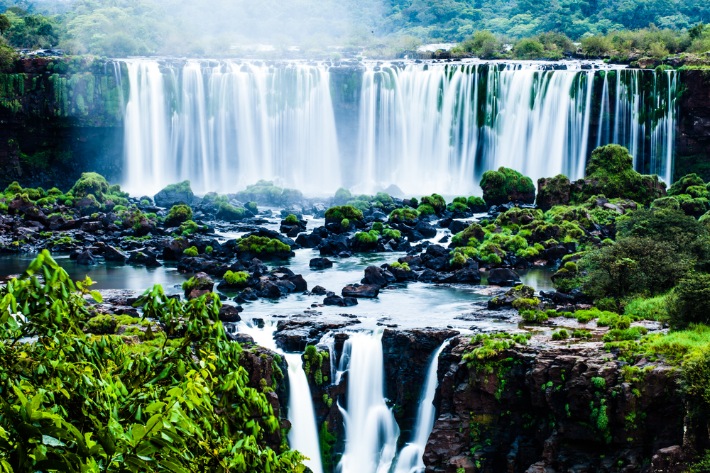 Iguassu Falls the largest series of waterfalls of the world view from Brazilian side