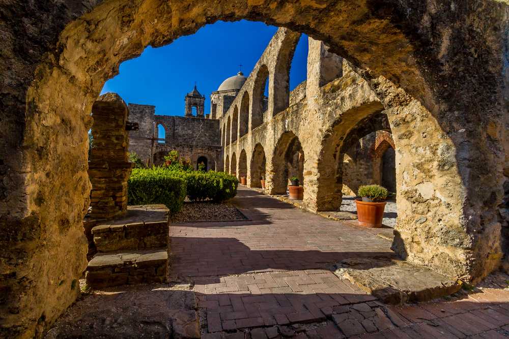 Interesting View Through an Old Stone Arch of the Historic Old West Spanish Mission San Jose Founded in 1720 San Antonio Texas
