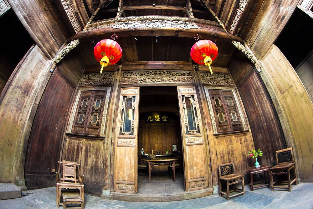Interior of ancient shool in chinese traditional village hongcun in huangshan anhui china