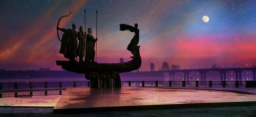 KIEV UKRAINE AUGUST 20 Monument to the founders of Kiev established in 1982 in honor of the founders of Kiev