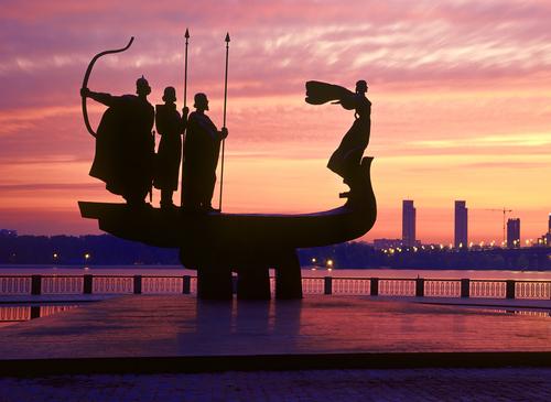 KIEV UKRAINE AUGUST9 20 Monument to the founders of Kiev established in 1982 in honor of the founders of Kiev