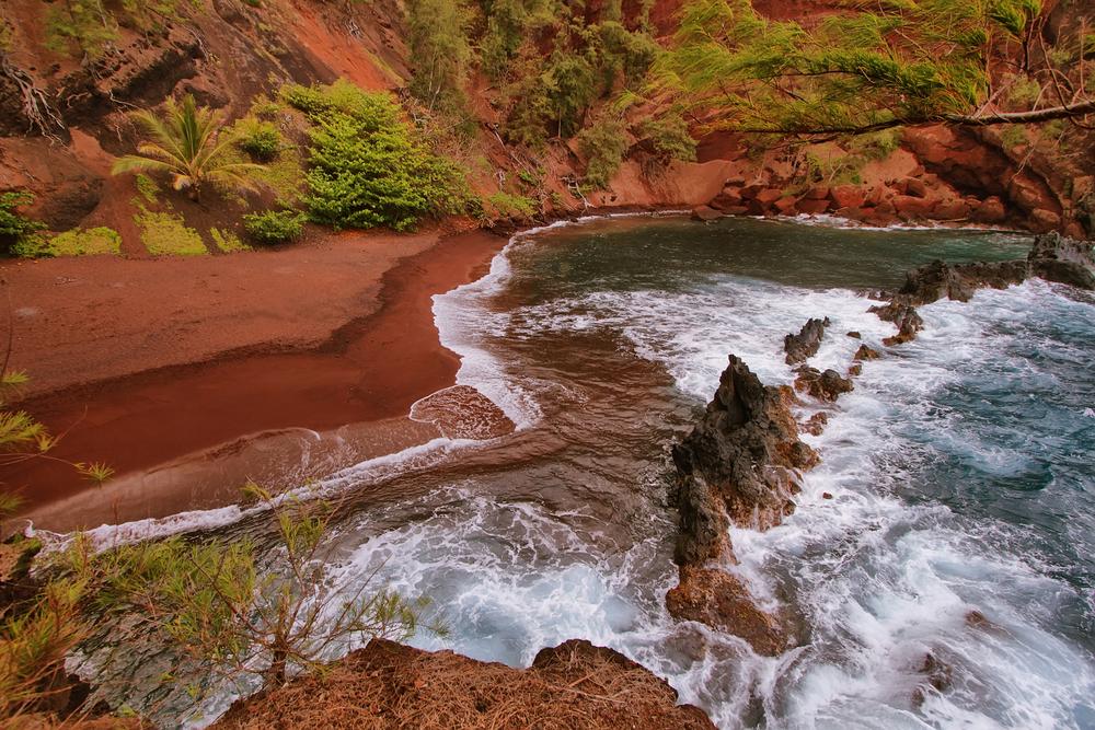 Kaihalulu red sand beach in east Maui island Hawaii