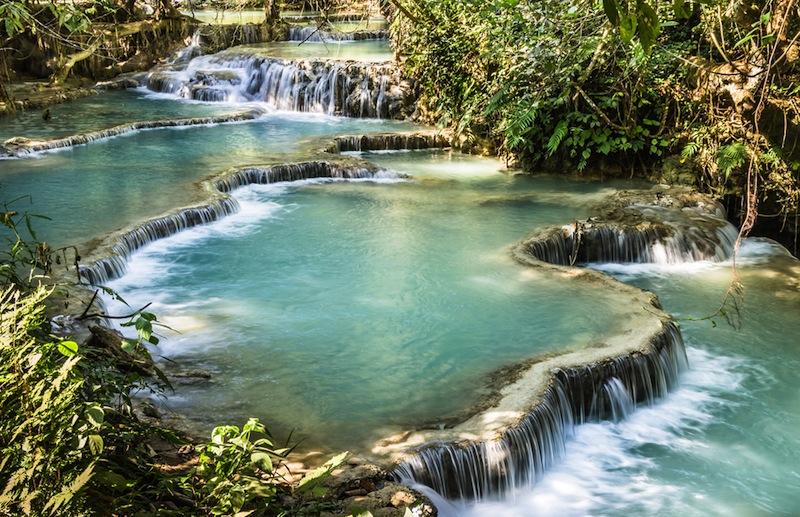 Kuang Si Falls Waterfalls at Luang Prabang Laos