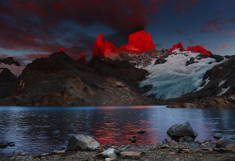 Laguna de Los Tres and mount Fitz Roy Dramatical sunrise Patagonia Argentina