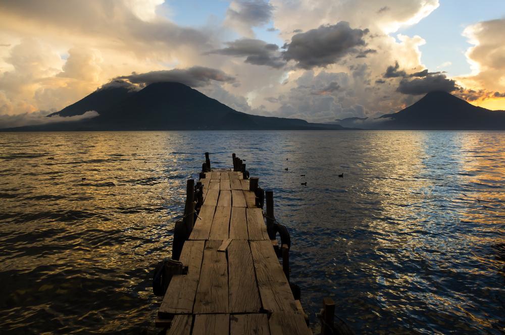 Lake Atitlan with volcano guatemala1