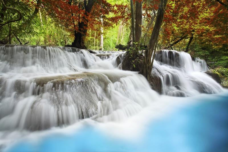 Level six of Erawan Waterfall in Kanchanaburi Province Thailand