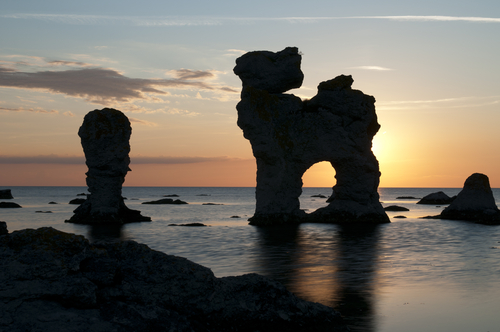 Limestone sea stacks formations at Gotland Sweden