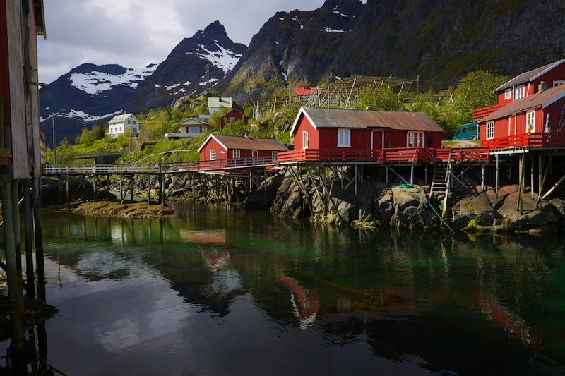 Lofoten islands in Norway reflecting in fjord