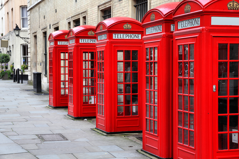 London United Kingdom red telephone boxes of Broad Court Covent Garden