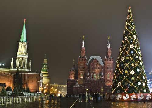 MOSCOW DECEMBER 14 Christmas tree on Red natale