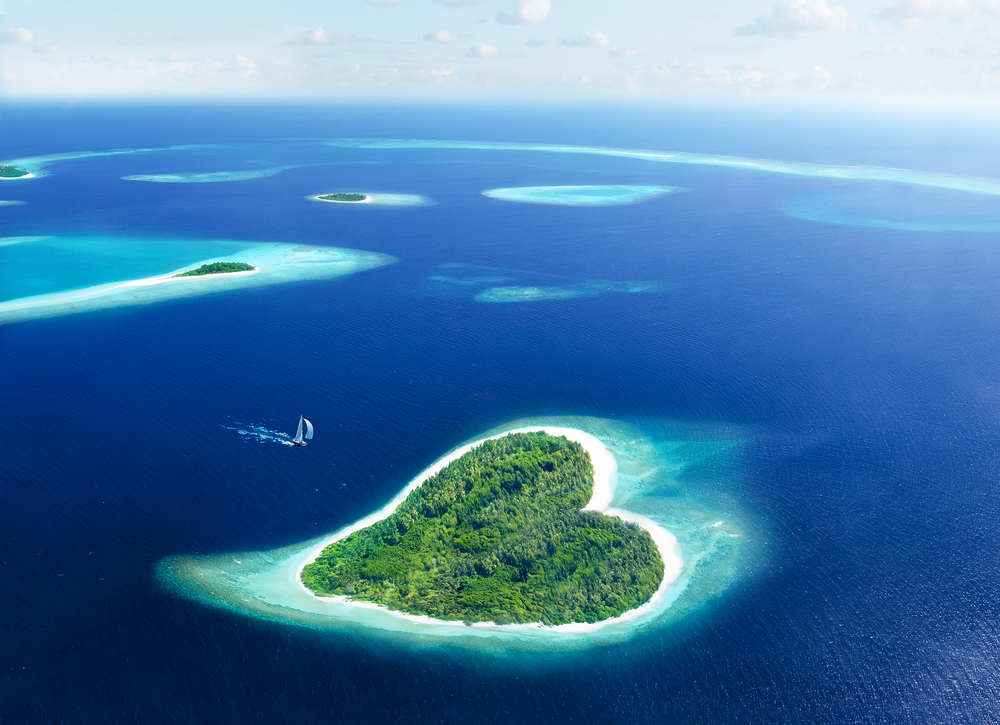 Maldivian island in the shape of heart
