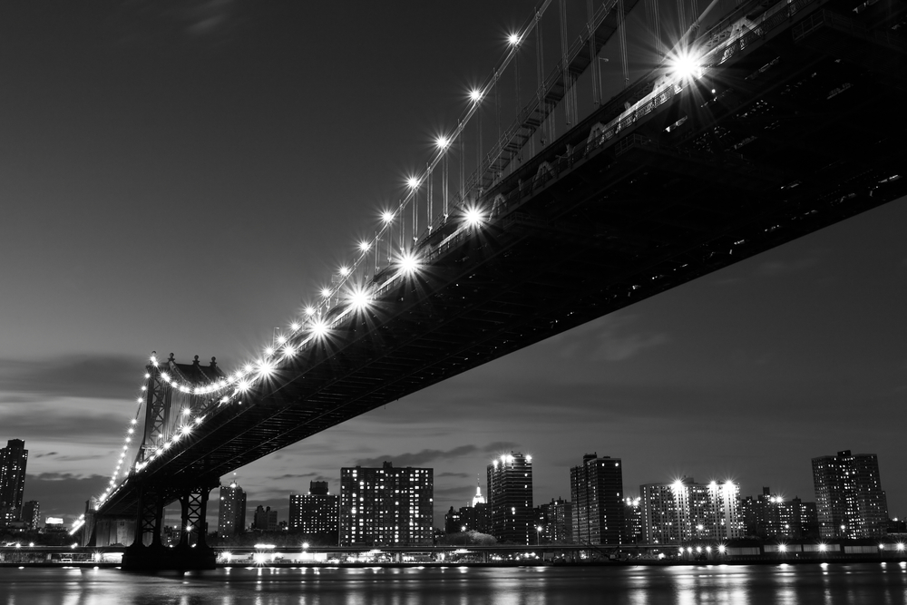 Manhattan Bridge and skyline At Night New York City