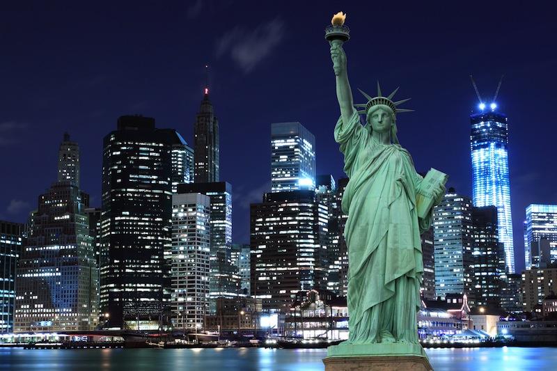 Manhattan Skyline and The Statue of Liberty at Night New York jpg