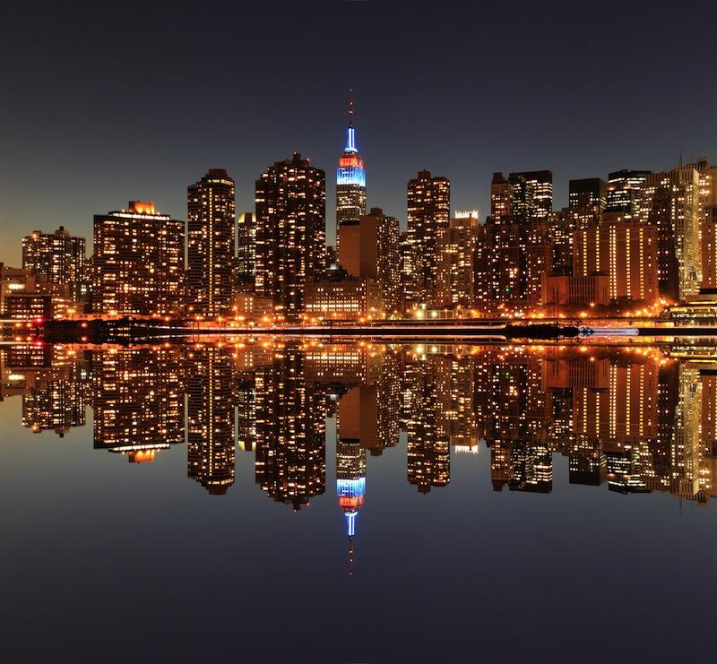 Manhattan skyline at Night Lights New York City