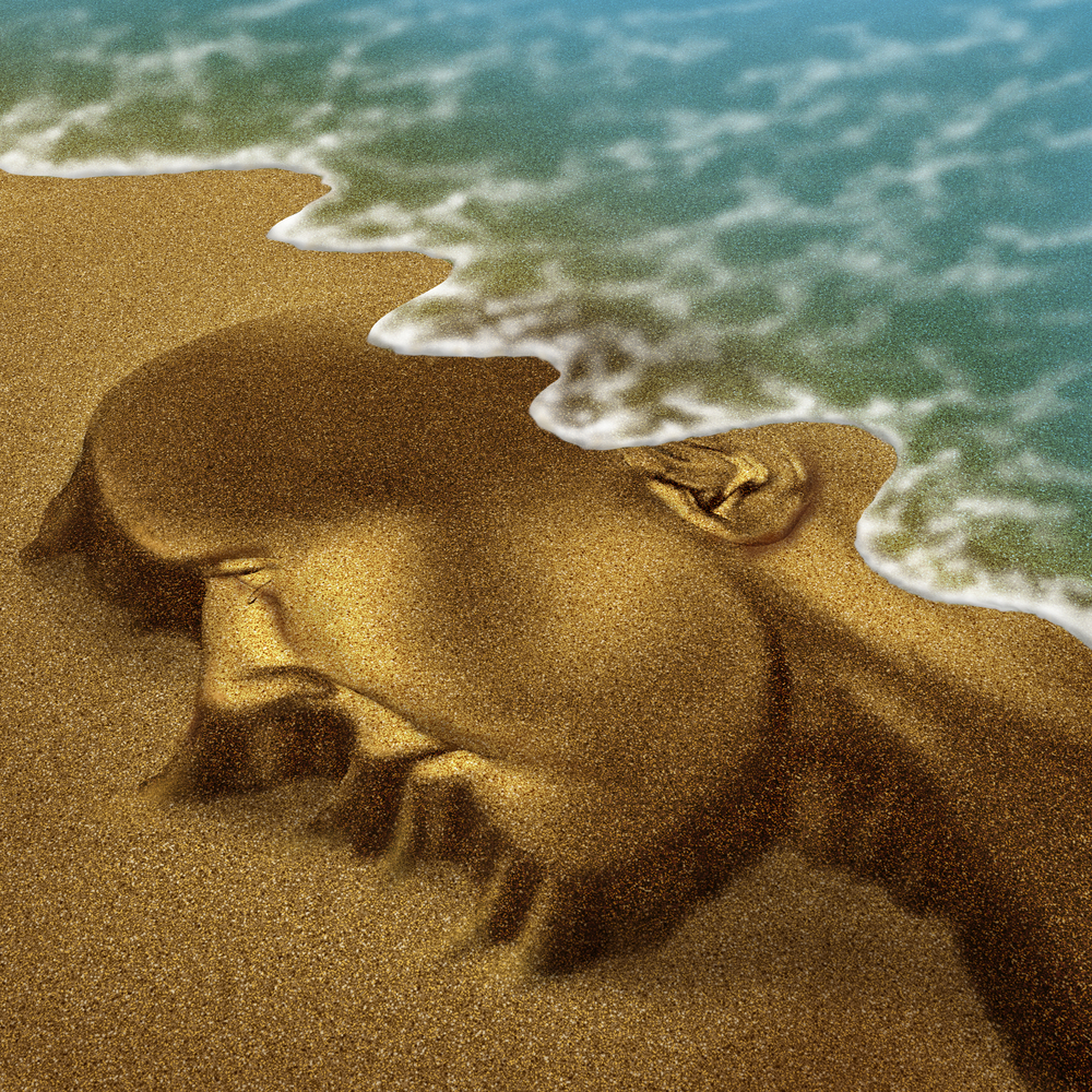 Memory problems due to Dementia and Alzheimers disease as a medical health care aging concept with a head and brain sculpted from sand on the beach with the ocean washing