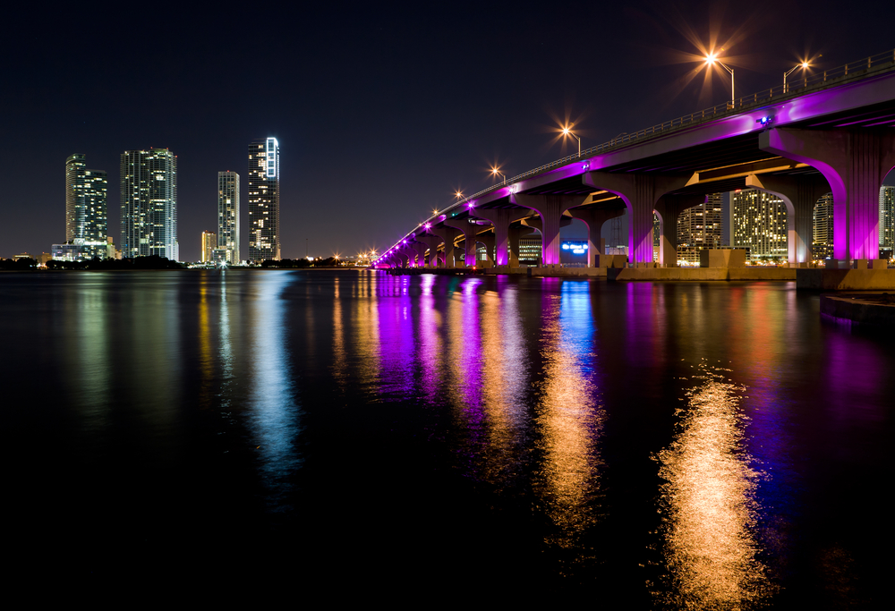 Miami Skyline along the MacArthur Causeway Bridge